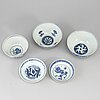 Three blue and white bowls and two blue and white dishes, ming dynasty  (1368-1644).
