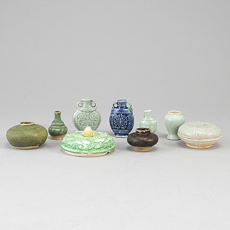 A group of nine ceramics, mostly ming dynasty.