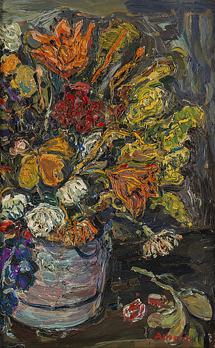 Albin amelin, oil on canvas, signed.