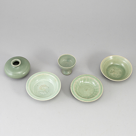 A group of celadon ware, south east asia. ming style, 20th century.