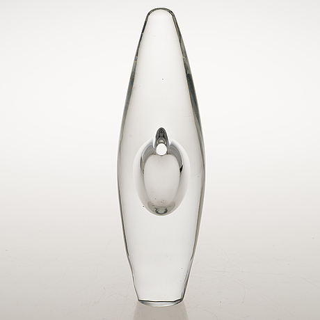 """An """"orchid"""" glass sculpture, signed timo sarpaneva 3568."""