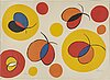 """Alexander calder, a color lithograph in colors from """"la mémoire Élémentaire"""", signed and numbered 21/100."""