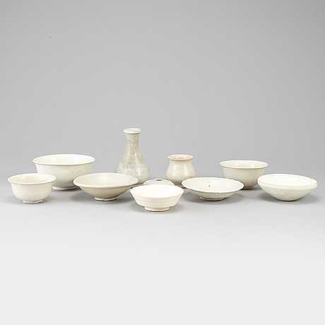 A group of 10 white glazed song style ceramics, south east asia.