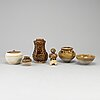 A group of mustard brown glazed ceramics, south east asia, thailand, part 19th century.