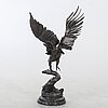 "Fernandez arman, sculpture, patinated bronze, ""sliced eagle"", signed and numbered 3/8, 1986."