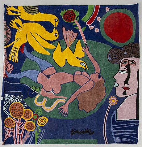 Beverloo corneille, after, tapestry rug, wool, 210 x 210 cm, number ed 8/100.