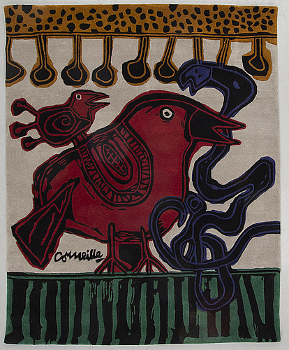 Beverloo corneille, after, tapestry rug, hand-tufted wool, c. 210 x 200 cm, numbered hc 3/7.