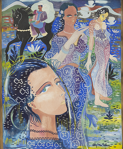Aly ben salem, gouache on paper, signed.