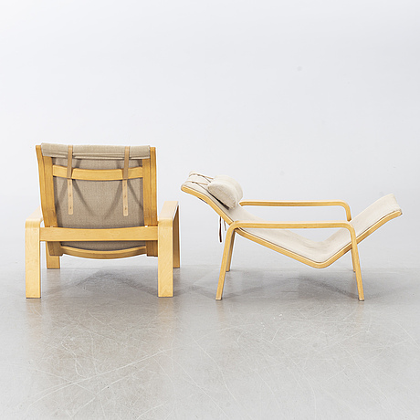 Two second half of the 20th century 'pulkka' easy chairs by ilmare lappalainen for asko, finland.