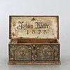 A 'marriage' chest, dated 1828 johan welter[?].