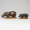 Gunnar nylund, 2 stoneware figurines, rörstrand.