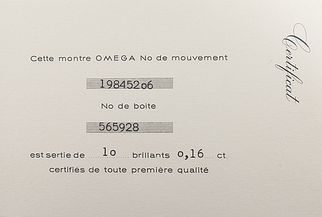 Omega, saphette, wristwatch, 15.4 mm.