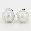 Cultured baroque south sea pearl earrings.