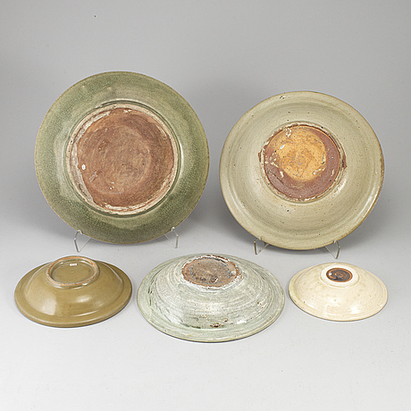 A group of five ceramic dishes, southeast asia, 20th century.
