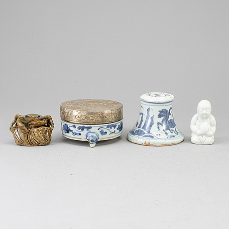 A group of four ceramic objects, mostly 20th century.