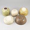 A group of five southeast asian ceramic pots/bowls, 20th century.