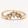 An 18k gold ring with marquise cut diamonds ca. 0.45 ct in total.