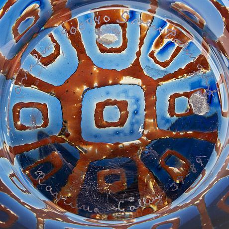 A sven palmqvist 'ravenna' glass bowl, orrefors 1989.