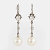 18k white gold, cultured pearl and brilliant-cut and eight-cut diamond earrings.