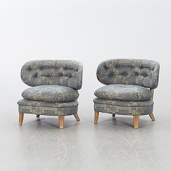 A PAIR of EASY CHAIRS by OTTO SCHULTZ for  JIO furniture Sweden, mid 20th century.