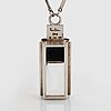 Wiwen nilsson, a sterling silver, rock crystal and onyx pendant with chain, lund sweden 1937.