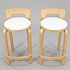 Alvar aalto,a pair of bar stools 'k 65' artek 1990s. model designed in 1935.