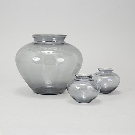 Wilhelm wagenfeld, 3 vases for würtembergische metallwaren fabrik, germany 1950's.