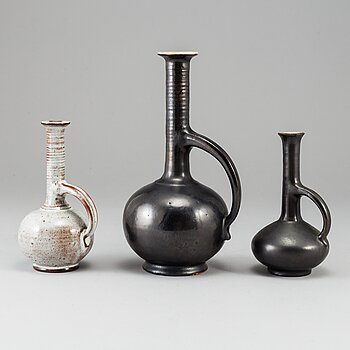 ERICH TRILLER, three stoneware vases, Werkstatt Otto Lindig, 1932-34,  signed.