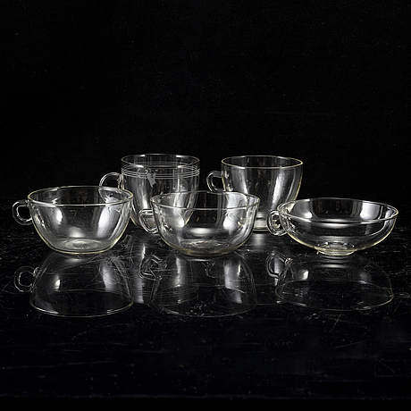 Wilhelm wagenfeld, a glass service, 10 pieces, glasservis, jenaer glaswerk, schott & gen, germany.