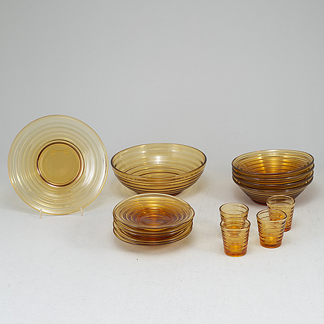 "Aino aalto, servisdelar, 15 st, glas, ""bölgeblick"", karhula, finland, 1930-tal."
