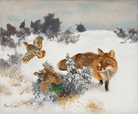 Bruno liljefors, fox and grouse in a winter landscape.