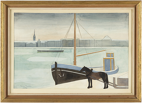Einar jolin, water colour on paper, signed einar jolin and dated 1954.