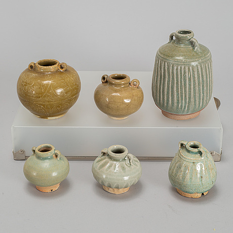 A group of six ceramic jars/flasks, mostly thailand, 19th century.