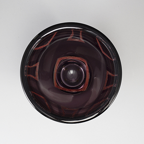 Jan johansson, a glass bowl, orrefors, sweden 1989.