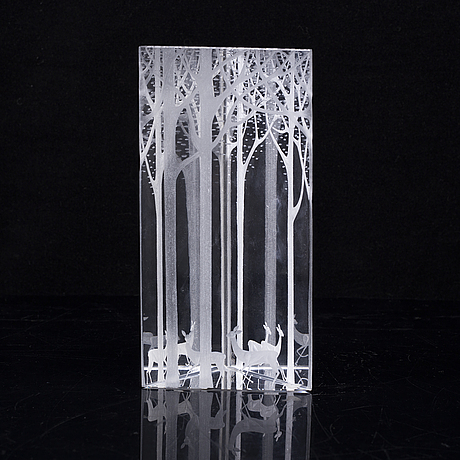 Vicke lindstrand, an engraved glass sculpture, kosta boda, sweden.