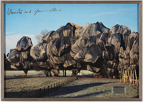 Christo & jeanne-claude, offset with collage, signed.