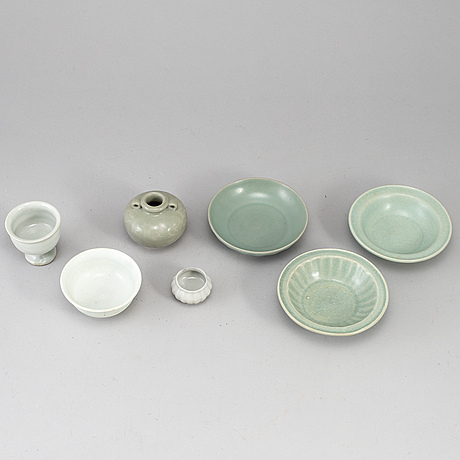 A group of celadon ware, south east asia, partly 17th century. (7 pieces).