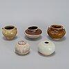 A group of five southeast asian ceramic jars/pots, 19th century.