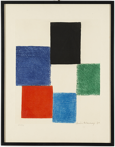 Sonia delaunay, etching in colour, 1970, signed in pencil and numbered 49/75.