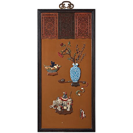 A lacquer wall panel with inlay of stone, cloisonné and porcelain, qing dynasty, 19th century.
