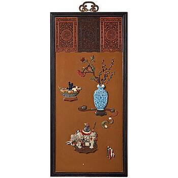 665. A lacquer wall panel with inlay of stone, cloisonné and porcelain, Qing dynasty, 19th Century.