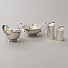 Tore eldh, a set of silver cream jug, sugar bowl, pepper and salt caster, ceson guldvaru ab, gothenburg 1952-1965.