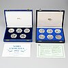 50 silver memory coins, nobel prize winners and one united nations, 1971-1980, sporrong.