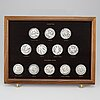"""Medaljongsamling, sterling, 60 delar """"sverige och dess regenter under 1000 år"""", sporrong ab 1976-79. vikt ca 2932 g."""