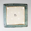 Marie beckman, a stoneware dish, signed mb.