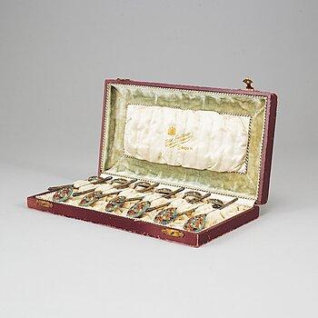 A set of twelve 19th century silver-gilt and cloisonné enameled tea-spoons, marked Gustav Klingert, Moscow 1880's.