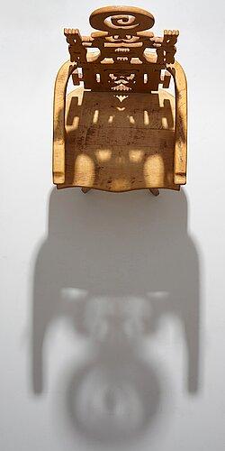 "Roberto matta, a sculptured wooden ""tarquinia"" chair, italy, 1970's."