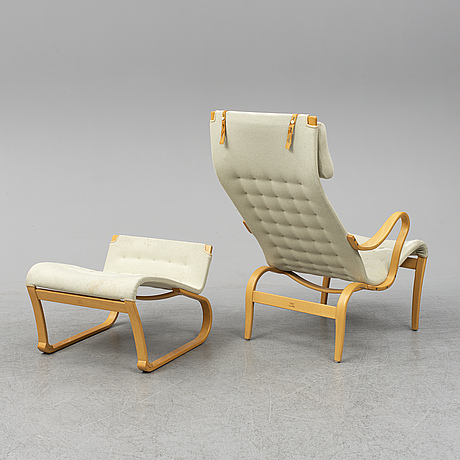 Bruno mathsson, armchair and stool, late 20th century.