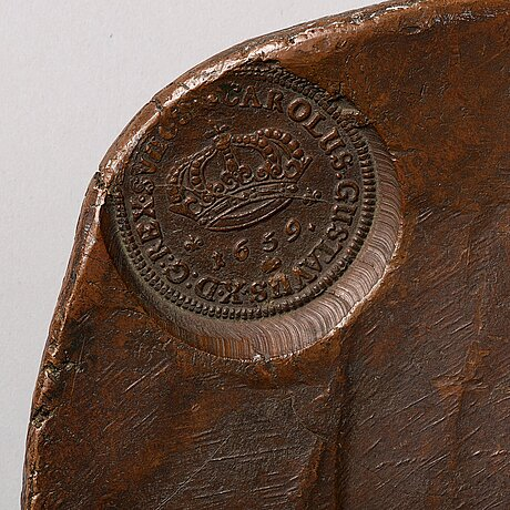 Plate money, 8 daler sm 1659 (karl x gustav), avesta.