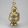 A brass incense burner, 17th/18th century.